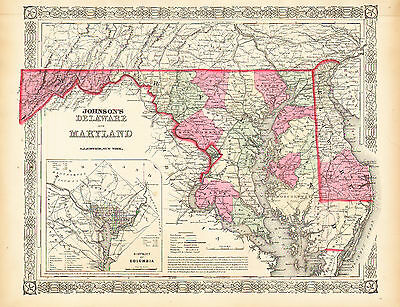 1864 Hand Colored Johnson Map of MARYLAND & DELAWARE Inset of WAHINGTON D.C.