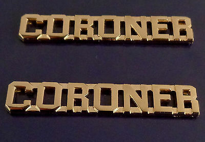 "CORONER Gold 3/8"" Lettering Pair Collar Pins Rank Insignia"