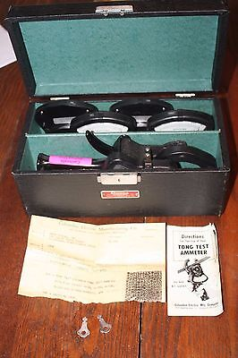 Vintage Columbia Tong Test Ammeter for AC & DC in Orig Case w/ Directions & Keys