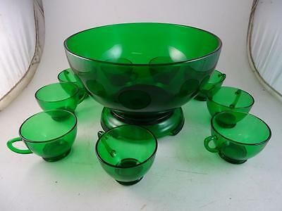 Vintage Anchor Hocking Green Glass Punch Bowl Set Stand Cup Christmas Retro Old