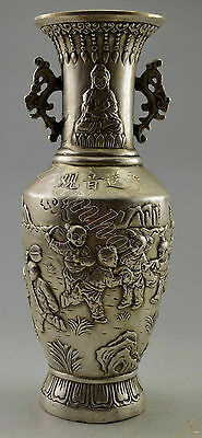 Collectible Decorated Old Handwork Tibet Silver Carved Kwan-yin Vase SongZi NR