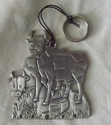 Vintage Pewter Hanging Ornament Wind Chime Part Two Cows Country Decor Plaque