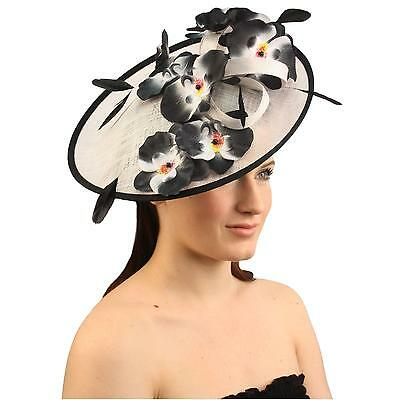 Orchid Floral Feather Handmade Derby Headband Fascinator Millinery Church White