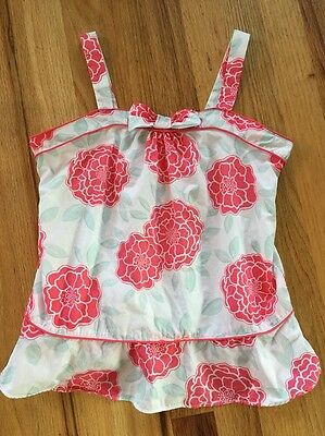 Janie and Jack Girls Pink White Flowers Tank Top Shirt Size 12