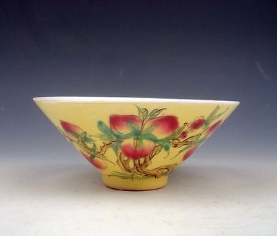 Yellow Glazed Porcelain Lots Lovely Peaches On Tree Hand Painted Bowl #11071601