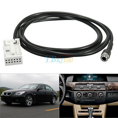 3.5mm 12 Pin AUX Auxiliary Audio Input Adapter Cable For BMW E60 E61 E63 E64 EB