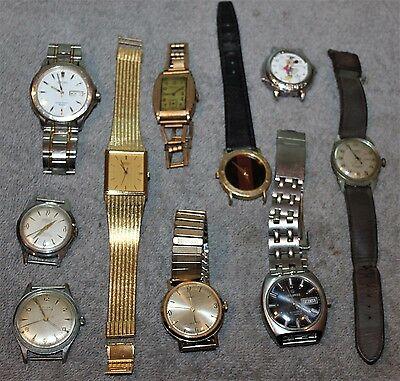 Vintage Lot Of 10 Mens Watches For Parts Repair Seiko 5P32-5239/helbros/doxa++