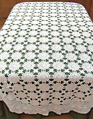 Vintage Crochet Lace Floral Medallion Tablecloth White 100% Cotton Oval 66x108