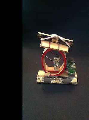 Antique Japanese  Miniature Kokeshi Doll Wooden Platform With Snow Marked Japan