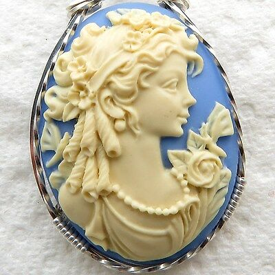 Goddess Dragonfly Cameo Pendant .925 Sterling Silver Jewelry Blue Resin
