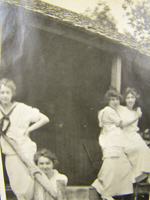 Antique Photo 1900's Girlfriends Hang at the Cottage