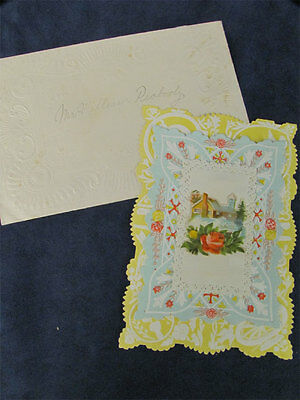 Antique Colorful Victorian Greeting Card W/Envelope