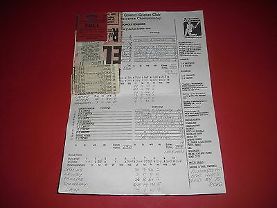1995 Sussex V Worcestershire Cricket Scorecard + Ticket + Newspaper Cuttings