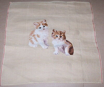 """""""Two Cats / Kittens"""" Preworked Penelope Needlepoint Canvas"""