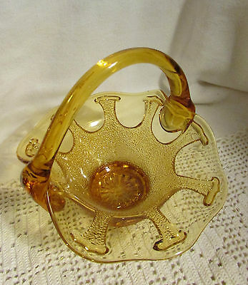 "Beautiful Vintage Imperial 6"" H Lace Edge Amber Glass Basket. Exc"