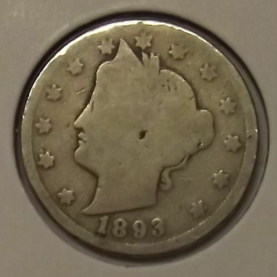 "1893 LIBERTY HEAD ""V"" NICKEL 5c COIN"