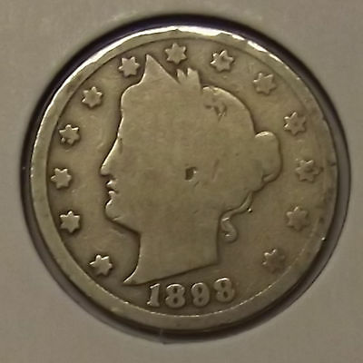"1898 LIBERTY HEAD ""V"" NICKEL 5c COIN"