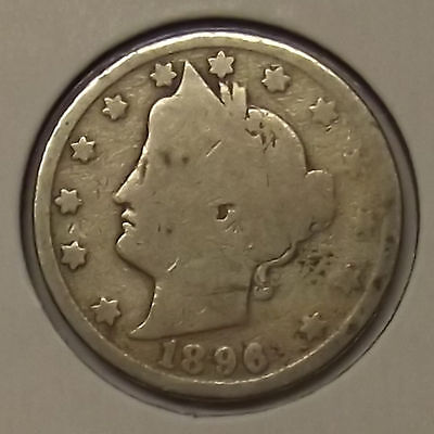 "1896 LIBERTY HEAD ""V"" NICKEL 5c COIN"