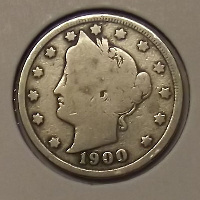 "1900 LIBERTY HEAD ""V"" NICKEL 5c COIN"