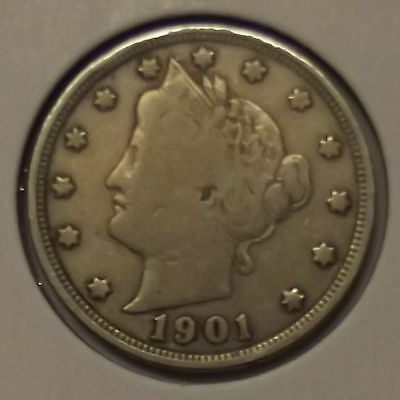 "1901 LIBERTY HEAD ""V"" NICKEL 5c COIN"