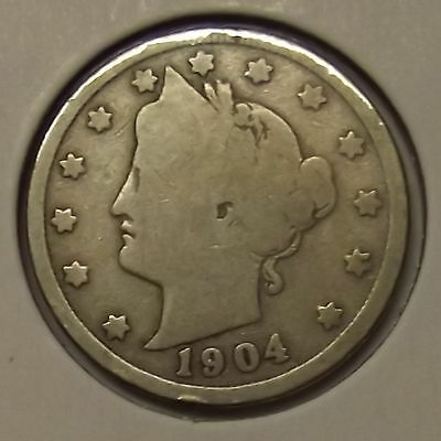 "1904 LIBERTY HEAD ""V"" NICKEL 5c COIN"