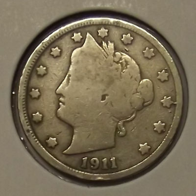"1911 LIBERTY HEAD ""V"" NICKEL 5c COIN"
