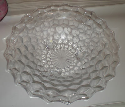 Fostoria American Crystal 3 Footed Round Console Compote Bowl