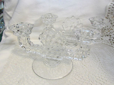"""FOSTORIA AMERICAN CRYSTAL 4.5"""" H x 8.75"""" W.. A PAIR DOUBLE CANDLE STICK HOLD"""