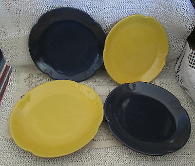 "Frankoma Plainsman 7"" Desert / Salad Plates Navy, Yellow And Terra Cotta #5G"