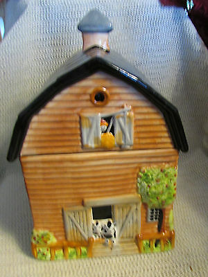 "Gibson China Farm Barn Cows Rooster Hay Sheep..11"" Cookie Jar"