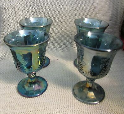 "Indiana Blue Carnival Glass Harvest Grape ..sale Is For 4 - 5.25"" Stem Tumblers"