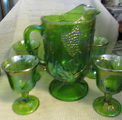 Indiana Glass Green Carnival Harvest Grape..lot 5 Tea Pitcher & 4 Stems  Goblets