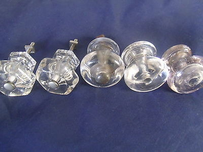 Vintage Lot 5 Mixed Glass Drawer Cabinet Pulls Knobs Hardware