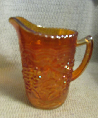"""Imperial Marigold Carnival Glass Grapes & Cable.. 6"""" Tall Milk Pitcher"""