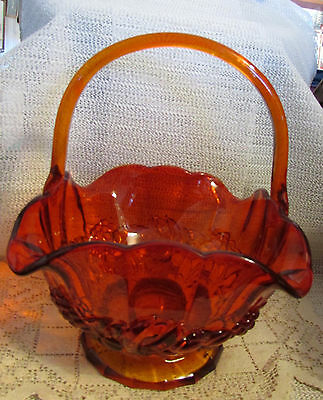 "Indiana Glass...11"" H Amberina Red Fruits Pattern Basket..exc"