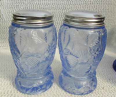 "Strawberry Floral 5"" High Salt & Pepper Shakers In Ice Blue Color"