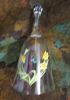 """Vintage ..6"""" Crystal Clear Fragile Hand Painted Joniquills Bell .. 3"""" Base"""