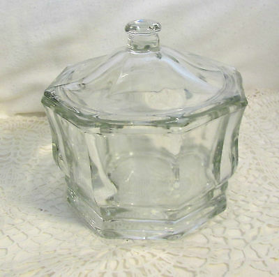 """Vintage Indiana Glass - Concord Clear Octogon 5"""" High Candy Or Trinket Box Dish"""