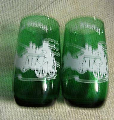 "Vintage Hocking Forest Green Glass.. 5"" Gas Buggy ""old Steamer"".. 2 Tumblers"