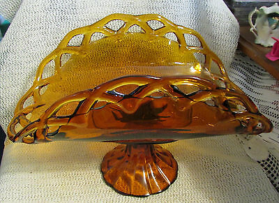 "Vintage Indiana Glass..13.5"" Amber Banana Fruit Stand Crocheted Glass Edge"
