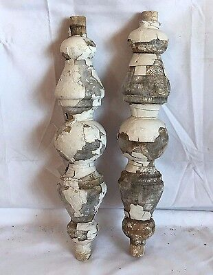 2 Reclaimed 1890's Antique Wood Victorian Baluster Porch Spandrel Wooden White A