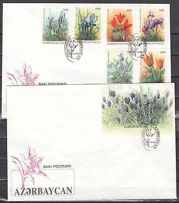 / Azerbaijan, Scott cat. 379-384, 385. Flower set & s/sheet. 2 First day covers.