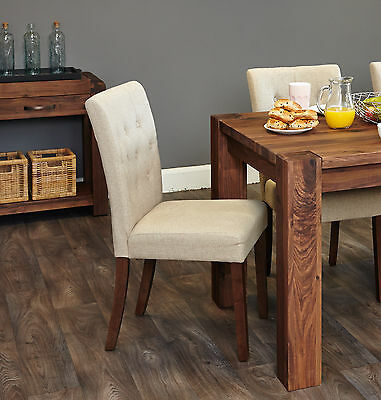 Inca solid dark wood furniture set of four flare back biscuit dining chairs