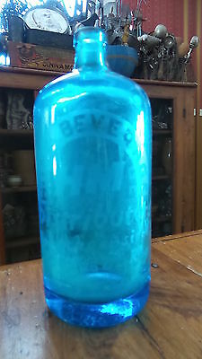 Antique BOTTLE, Electric Blue, Home Beverage, Poughkeepsee, NY, Seltze,Czechr