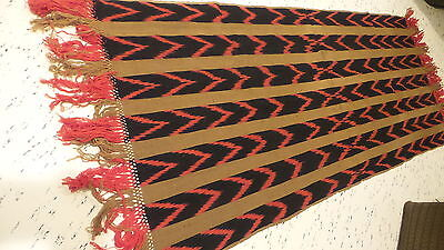 "Antique Victorian Mission Wool RUNNER, FRINGED TABLE SHAWL 56""x25"", Red,Black,Bn"