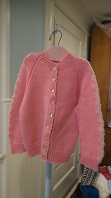 Vintage HAND KNIT CHILD'S SWEATER Pink & White Cardigan