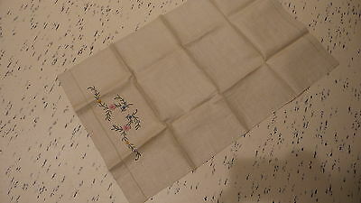 Antique EMBROIDERED LINEN TOWEL Fine Linen, Pink,Blue,Yellow Floral