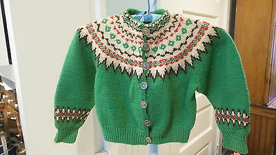 Vintage HAND KNIT CHILD'S SWEATER Kelly Green & Design,Cardigan, Heavy