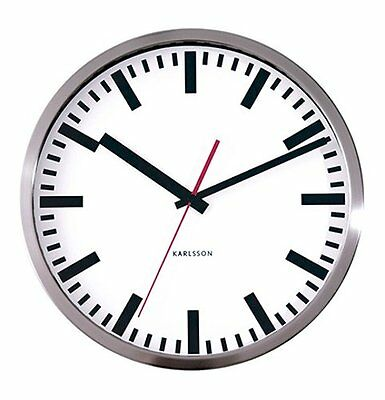 Karlsson STATION WALL CLOCK with SECOND HAND 29cm diam. STEEL