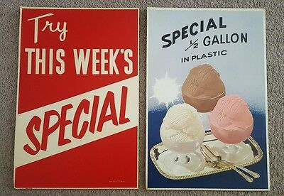 Ice Cream Dairy Products Advertising Signs Vintage Special 1/2 Gallon